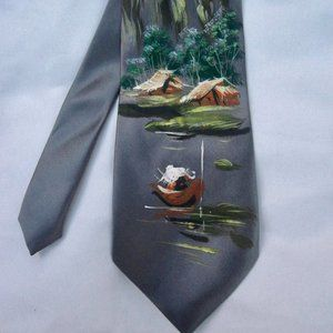 VTG Hand Painted Tie Asian Boat  Gray Silk Swing